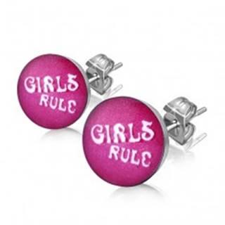 """Náušnice z ocele - nápis """"GIRLS RULE"""" v koliesku"""