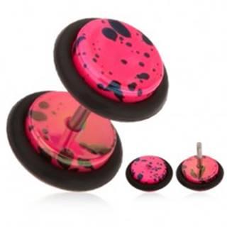 Neónovo ružový fake plug do ucha z akrylu, olejové škvrny, gumičky
