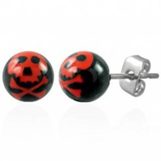 Oceľové náušnice, čierne guličky - červená lebka