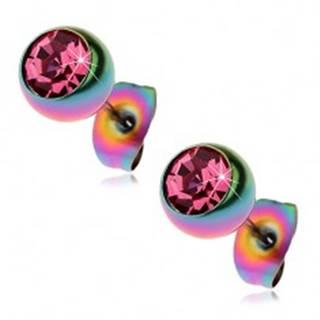 Oceľové náušnice, dúhové guličky s ružovým zirkónom, 7 mm