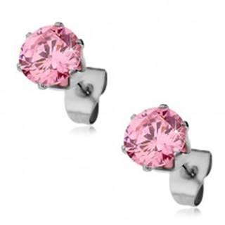 Oceľové náušnice s ligotavým ružovým zirkónom, 7 mm