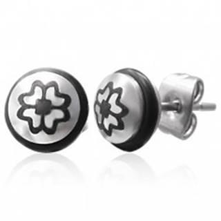 Oceľové náušnice so symbolom štvorlístka a čiernou gumičkou