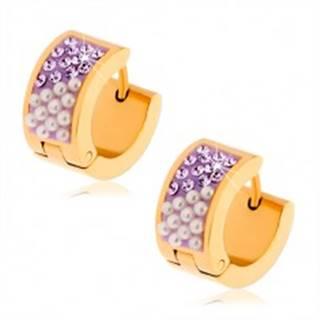 Oceľové náušnice zlatej farby, ružové zirkóny, perleťovo biele guličky