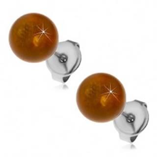 Oceľové puzetové náušnice, žltohnedé guličky, 8 mm