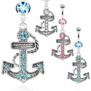 Oceľový piercing do pupku - zirkónová kotva s lanom - Farba zirkónu: Aqua modrá - Q