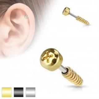Oceľový piercing do tragusu ucha - imitácia skrutky, rôzne farby - Farba piercing: Čierna