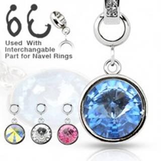 Oceľový prívesok - okrúhly farebný zirkón na rôzne druhy piercingov - Farba zirkónu: Aqua modrá - Q