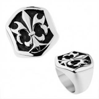 Oceľový prsteň striebornej farby, šesťhranná ozdoba s patinou a Fleur de Lis - Veľkosť: 57 mm