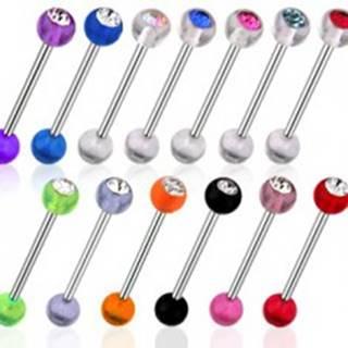 Piercing činka - UV gulička so zirkónom - Farba zirkónu: Aqua modrá - Q, Farba piercing: Číra