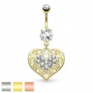 Piercing do bruška z chirurgickej ocele, srdce s čírymi zirkónmi a výrezmi - Farba piercing: Medená