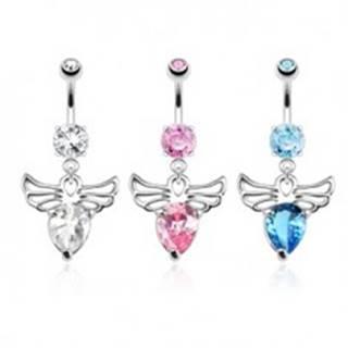 Piercing do bruška z ocele - anjel s ozdobnými výrezmi, farebné zirkóny - Farba zirkónu: Aqua modrá - Q