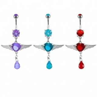 Piercing do pupku srdiečko s anjelskými krídlami - Farba zirkónu: Červená - R