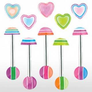 Piercing jazyka - Multicolor heart - Farba piercing: Fialová