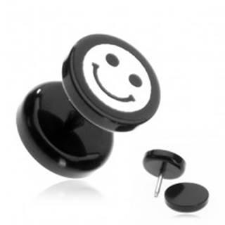 Plug do ucha z akrylu - smajlík na čiernom koliesku