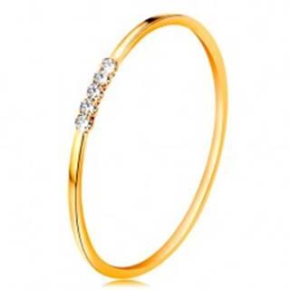 Prsteň v žltom 14K zlate - línia čírych zirkónikov, tenké lesklé ramená - Veľkosť: 48 mm