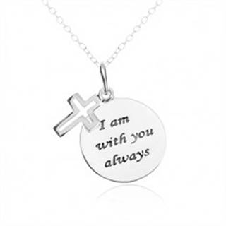 Strieborný náhrdelník 925, okrúhla a plochá známka s nápisom, kríž