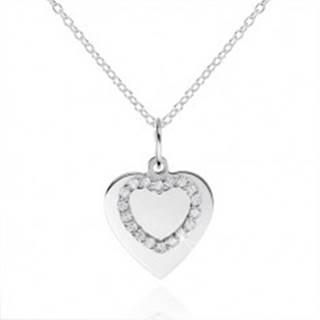 Strieborný náhrdelník 925, ploché srdiečko a kontúra srdca so zirkónmi