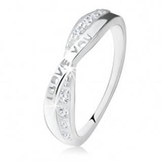 """Strieborný prsteň 925, prekrížené ramená, zirkóny, nápis """"I LOVE YOU"""" - Veľkosť: 49 mm"""
