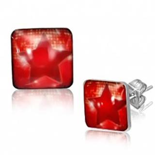Štvorcové oceľové náušnice - červená hviezda