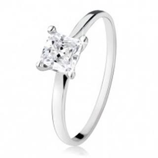 Zásnubný prsteň zo striebra 925, zirkónový štvorec, úzke ramená - Veľkosť: 49 mm