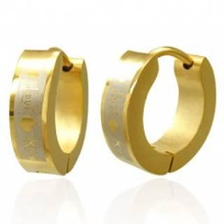 Zlaté náušnice z ocele Love Kiss