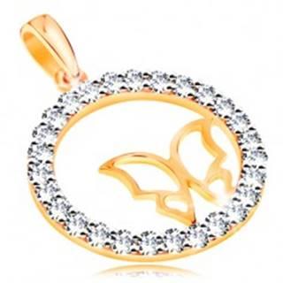 Zlatý prívesok 585 - trblietavá zirkónová obruč, tenký lesklý obrys motýľa
