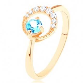 Zlatý prsteň 585 - kosák mesiaca zdobený čírymi zirkónikmi, modrý topás - Veľkosť: 49 mm