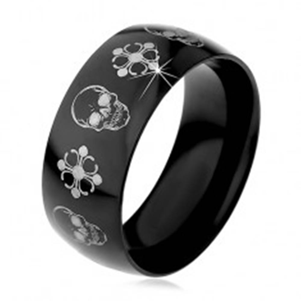 Šperky eshop Čierna oceľová obrúčka, lebky a kríže striebornej farby, 9 mm - Veľkosť: 59 mm
