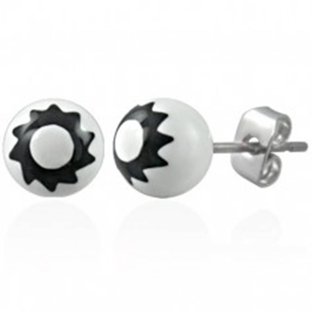 Šperky eshop Čierno - biele náušnice z ocele 316L s emblémom slnka, puzetky