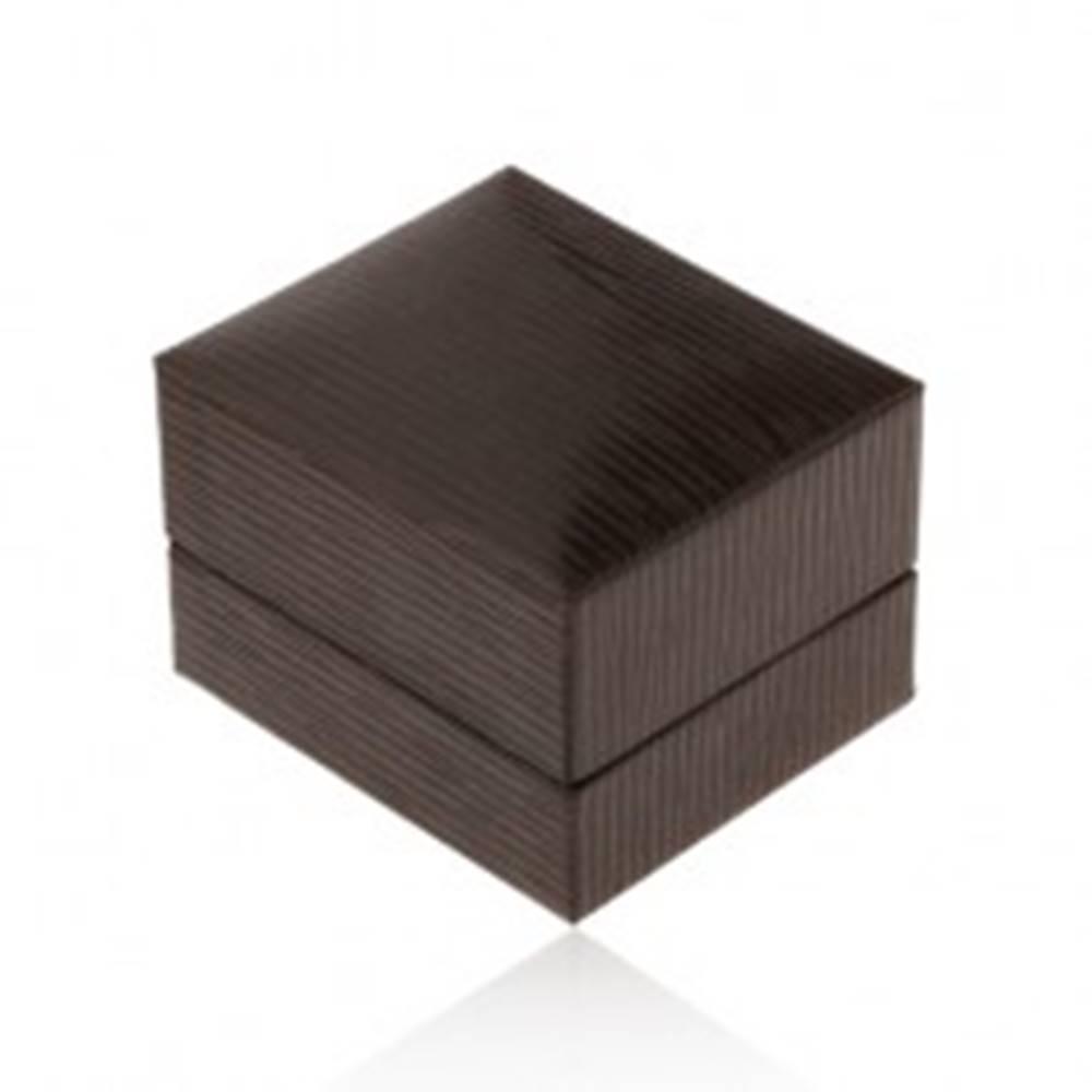 Šperky eshop Darčeková krabička na náušnice, tmavohnedá koženka zdobená zárezmi