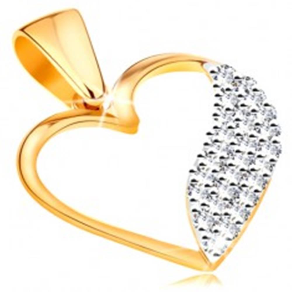 Šperky eshop Dvojfarebný prívesok v 14K zlate - obrys srdca, široká vlnka z čírych zirkónov