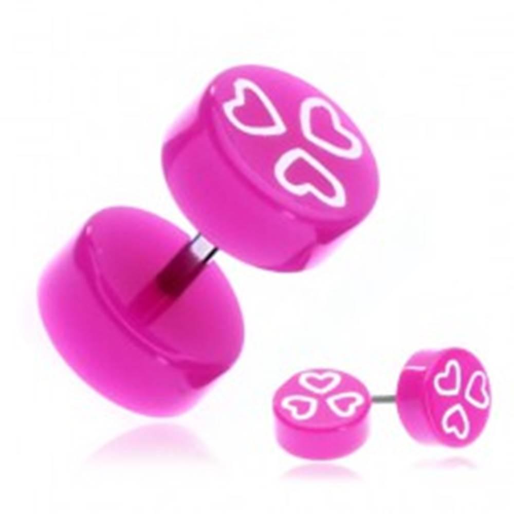 Šperky eshop Fake piercing do ucha z akrylu - fialovoružové kolieska so srdiečkami