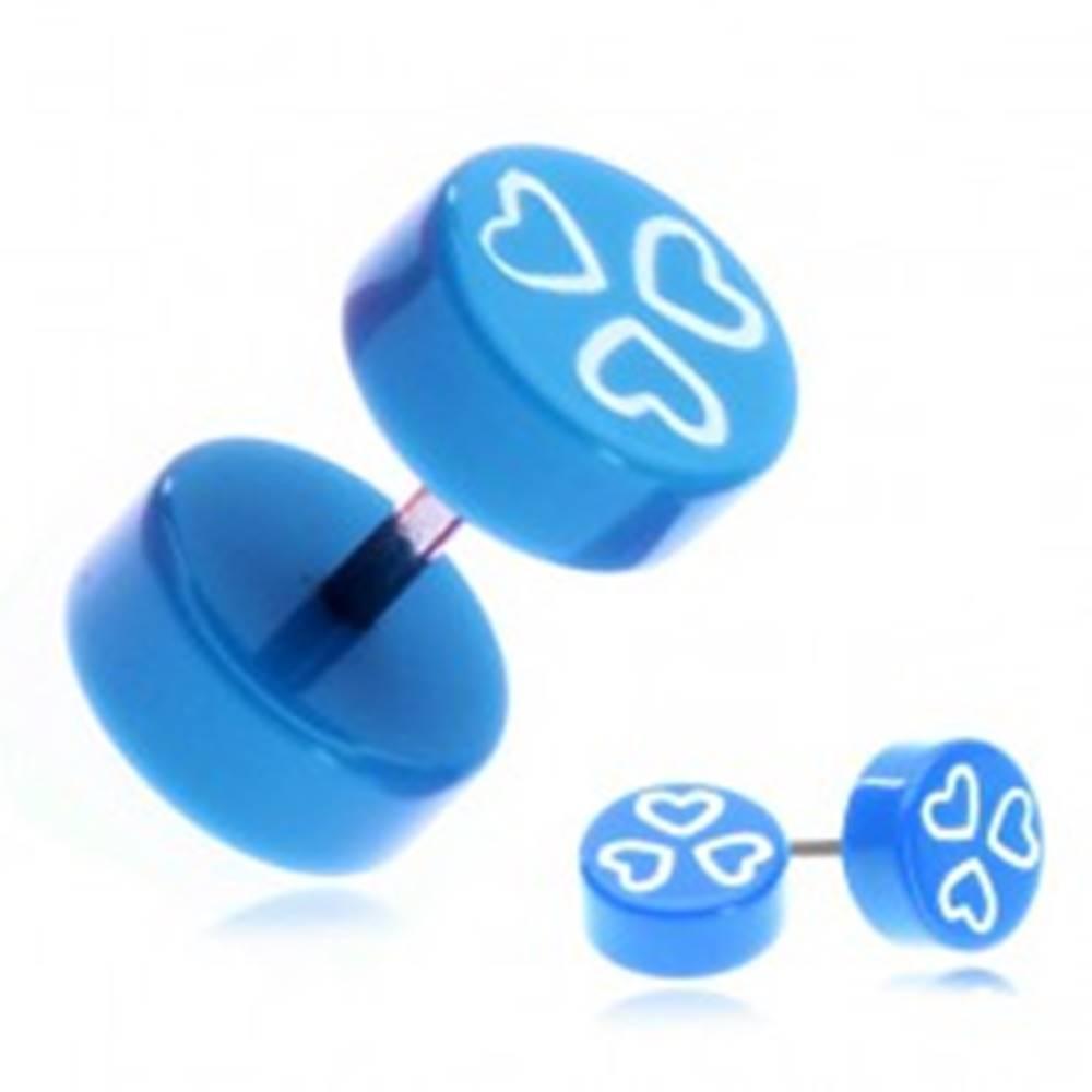 Šperky eshop Fake piercing do ucha z akrylu - modré kolieska a srdiečka