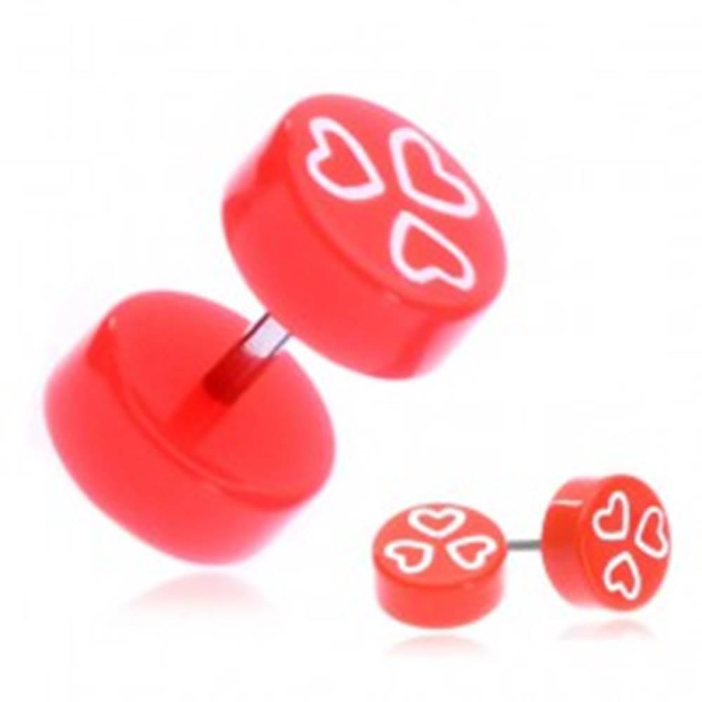 Šperky eshop Fake piercing do ucha z akrylu - oranžové kolieska a srdcia