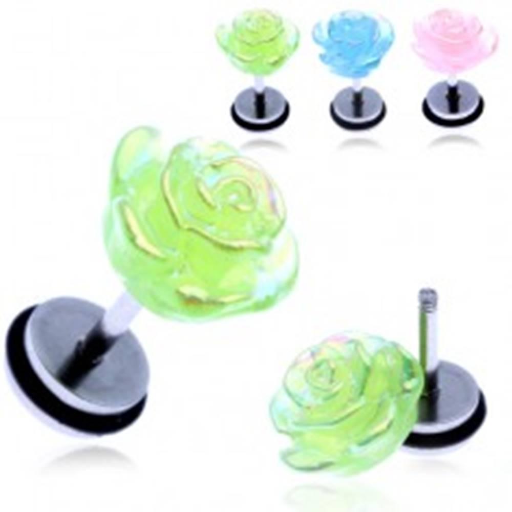 Šperky eshop Fake piercing do ucha z ocele - farebná dúhová ruža - Farba piercing: Modrá