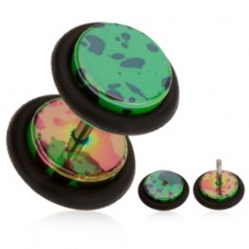 Šperky eshop Fake plug do ucha, akrylový, tmavozelený podklad, olejové škvrny