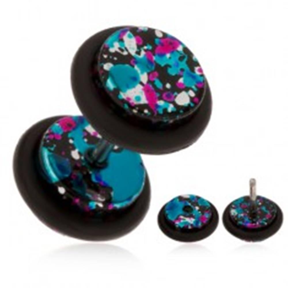 Šperky eshop Falošný piercing do ucha z akrylu, rôznofarebné škvrny na povrchu