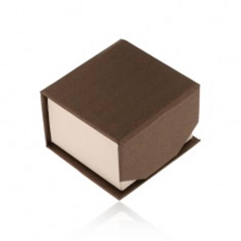 Šperky eshop Hnedo-béžová krabička na prsteň alebo náušnice, ligotavý povrch, magnet