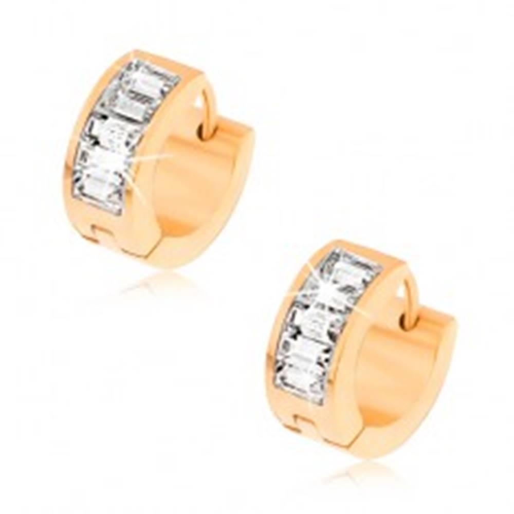 Šperky eshop Kĺbové náušnice z ocele zlatej farby, trblietavé číre kamienky v pásiku