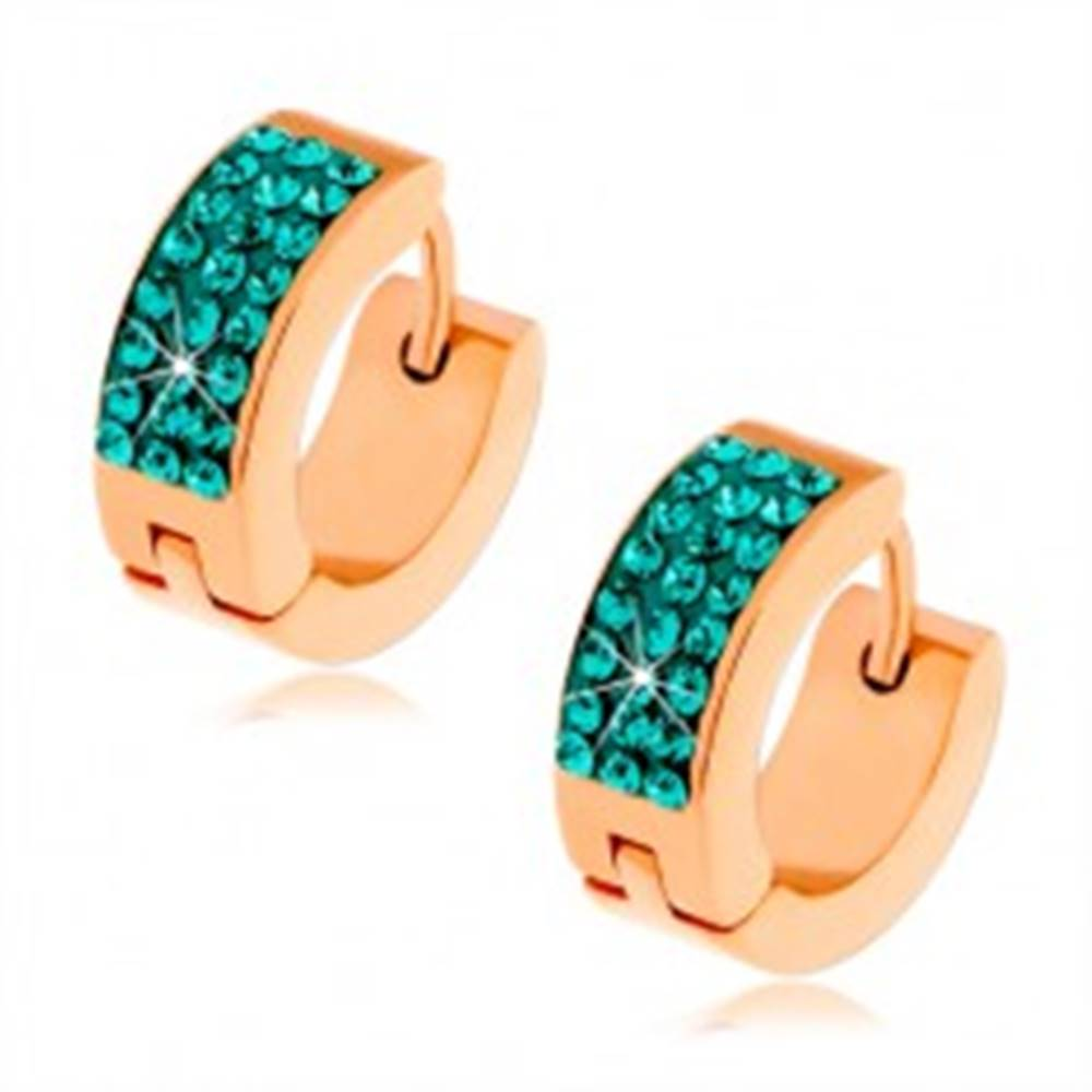 Šperky eshop Kĺbové oceľové náušnice zlatej farby, tri línie tyrkysových zirkónov