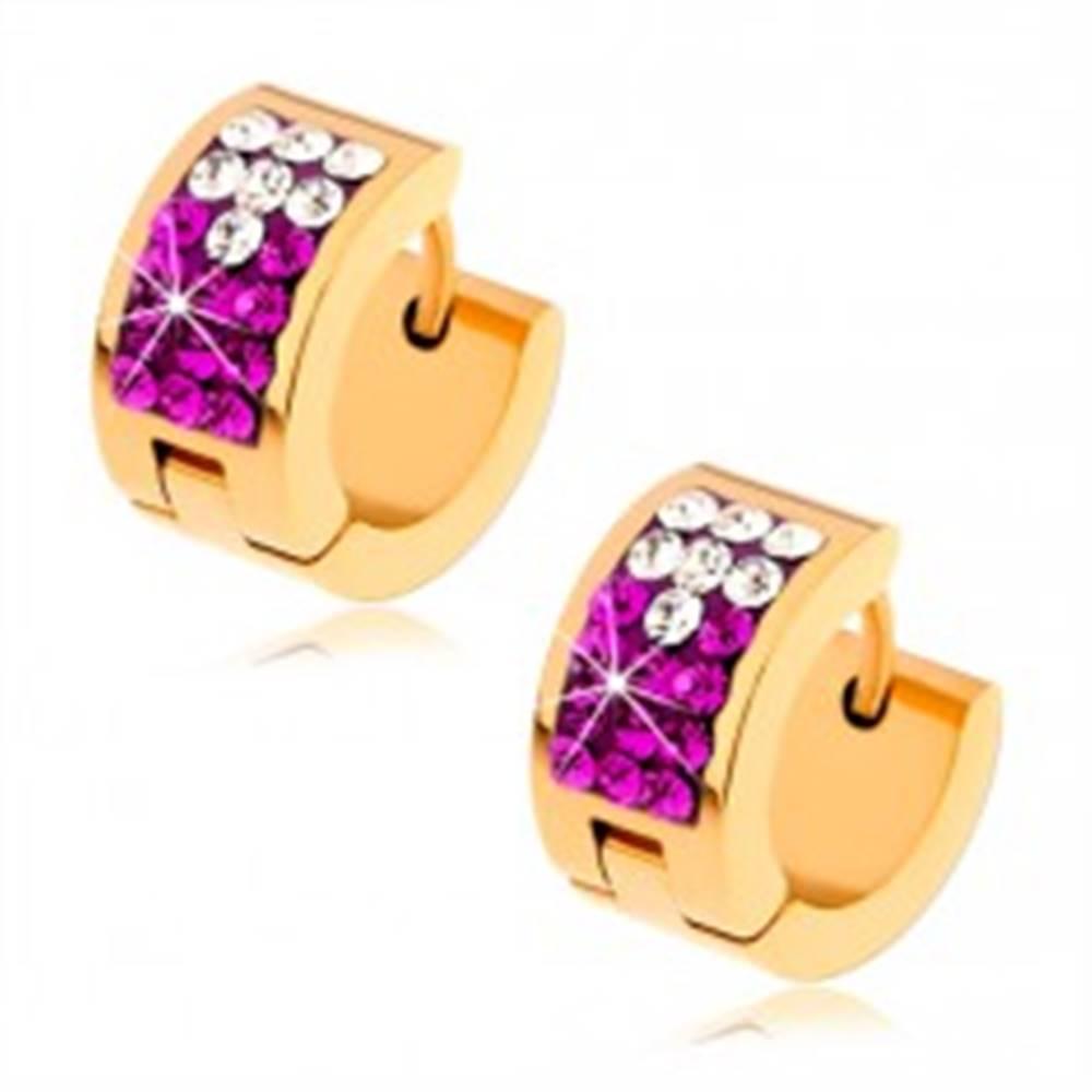 Šperky eshop Lesklé oceľové náušnice zlatej farby, číre a fuksiové zirkóny