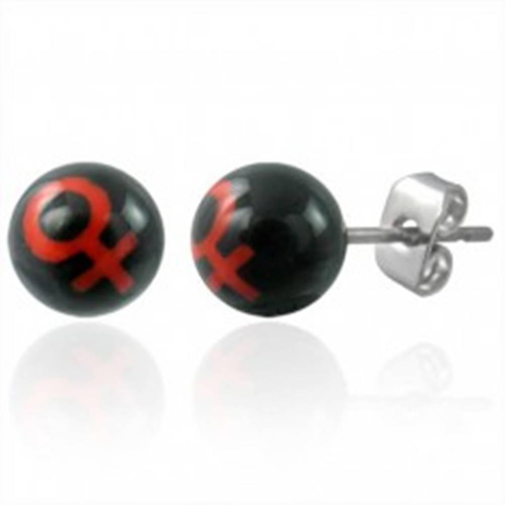 Šperky eshop Malé náušnice z ocele guličky - symbol ŽENA