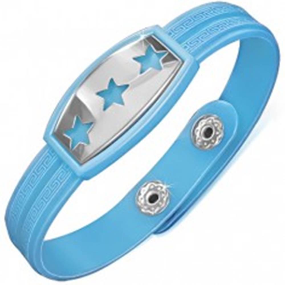 Šperky eshop Modrý gumený náramok s hviezdami na oceľovej známke