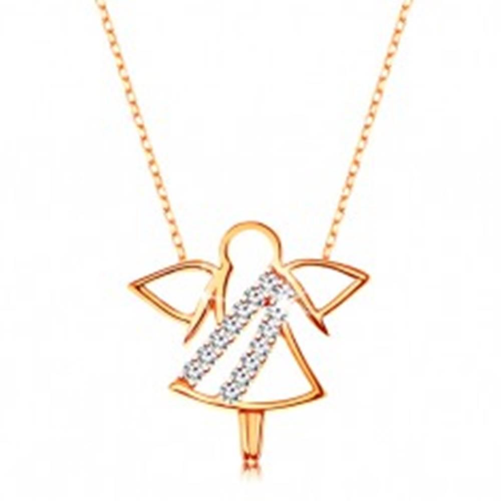 Šperky eshop Náhrdelník v žltom 9K zlate - kontúra anjelika, zirkónové línie, tenká ligotavá retiazka