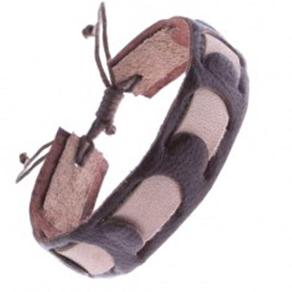 Šperky eshop Náramok z kože - pás prepletaný svetlohnedým pruhom