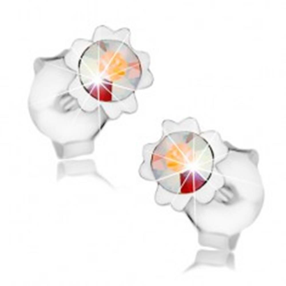 Šperky eshop Náušnice, striebro 925, dúhový Swarovského krištáľ, kvet, dvojice lupeňov