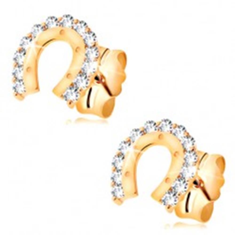 Šperky eshop Náušnice v žltom 14K zlate - ligotavá podkovička s bodkami a čírymi zirkónmi