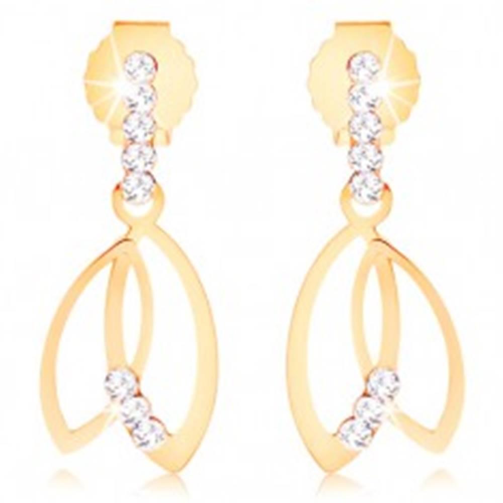 Šperky eshop Náušnice v žltom 9K zlate - kontúry dvoch zrniek, číre zirkónové línie