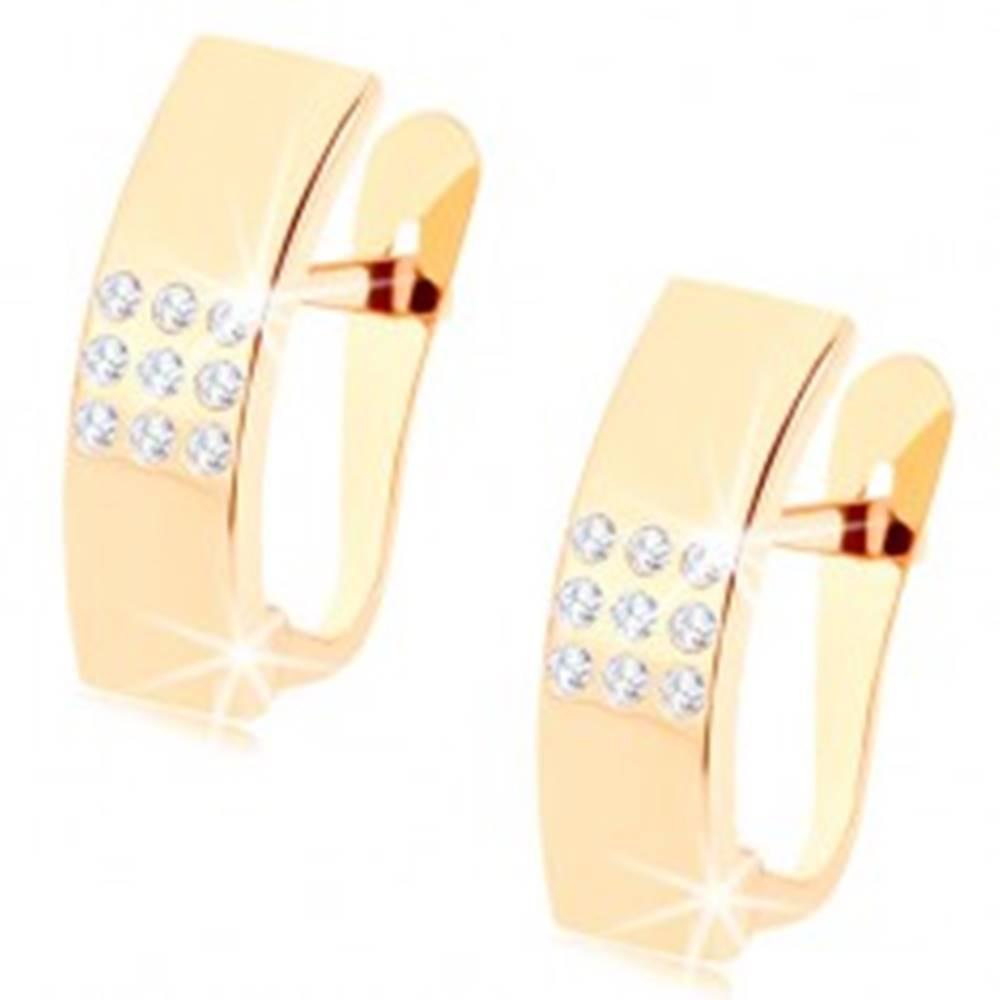 Šperky eshop Náušnice v žltom 9K zlate - zrkadlovolesklé oblúky s čírymi zirkónikmi