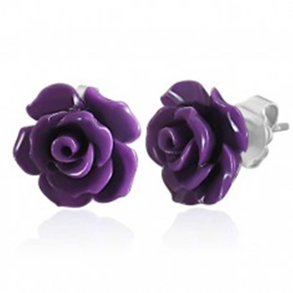 Šperky eshop Náušnice z ocele 316L, malá fialová ruža, puzetky